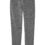 Обалденные блестящие серебристые леггинсы штаны h&m, размер xs