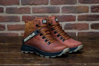Мужские зимние кожаные ботинки CAT Caterpillar рыжие размеры 40.41.42.43.44.45