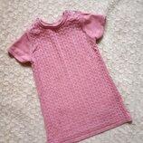 H&M Теплое вязаное розовое платье сарафан косы зимнее 86-92 см