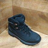 Ботинки подростковые зимние спортивные на меху restime чёрные и серые