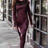 Распродажа Длинное ангоровое платье с широким воротником-хомут.