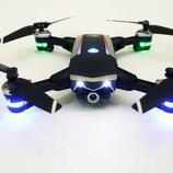 Квадрокоптер складной четырехосевой дрон с Wifi камерой подсветка