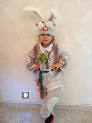 Прокат карнавальный костюм Зайчик зайки, зайца,зайчика на 2-5 года на утренник для мальчика, девочки