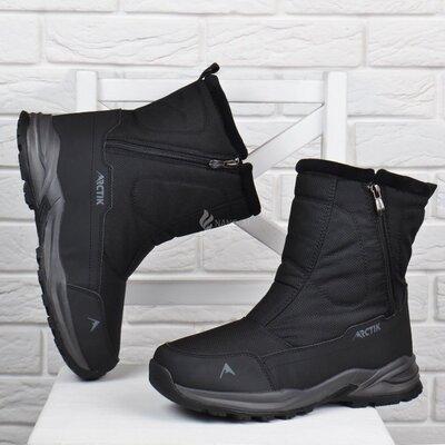 Дутики мужские термо зимние сапоги черные на молнии