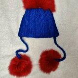 Зимняя шерстяная шапка на 1-2 года