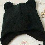 шапка деми с ушками на завязках