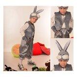 Новогодний костюм Зайка Зайчик Заяц серый на 3-7 лет.