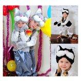 Новогодний костюм Кот Котик серый и черный с белым 3-7 лет.