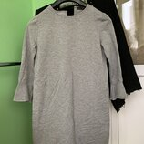 Теплое платье-свитшот с оборками на рукавах Zara серое платье /в свободном стиле
