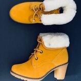 Натуральная кожа/овчина женские ботинки на каблуке хит продаж распродажа-70%