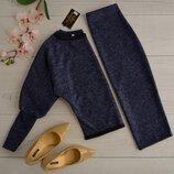 Костюм кофта и юбка ангора Soft меланж разные цвета миди декорирован расшитой лентой и кружевной тес