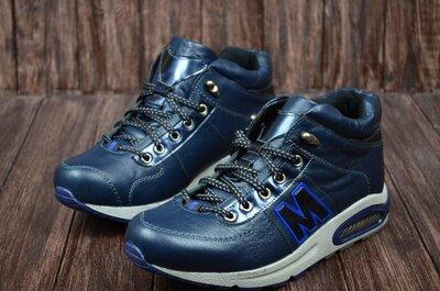 Мужские кожаные зимние ботинки,кроссовки