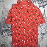 Рубашка на мальчика с новогодним принтом, 6-7лет, 122р