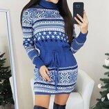 Теплое вязаное платье Дана. Размеры универсал 42-46.