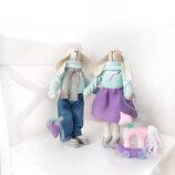 Подарочный набор пара заек с лошадкой подарок на новый год Рождество Николая тильда игрушка