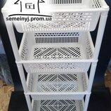 Пластиковая этажерка на колесах,пластиковая полка 4 яруса на колесиках