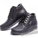 Ботинки кожаные зимние Timberland Т - 345 шнурок и молния черные