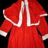 Красный плащ 100% коттон санта-клаус снегурочка новогодний оригинал