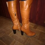 Зимние кожаные сапоги ботфорты на полную ногу