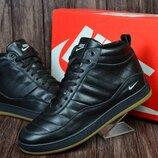Мужские кожаные зимние ботинки,кроссовки Nike