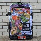 Стильный мужской рюкзак the north face x supreme с принтом карты