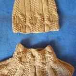 Комплект зимний - шапочка, шарф-воротник нюдовый