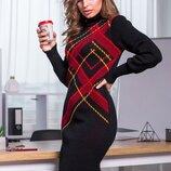 Теплое вязаное платье «Клетка»