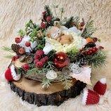 Ноаювогодний рождестенский подсвечник венок новогодняя композиция на стол рождественский декор