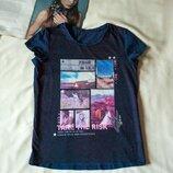 Детская синяя хлопковая футболка с рисунком, размер 146