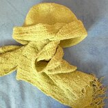 Комплект демисезон-зима - шляпка-шапочка, шарф зеленый