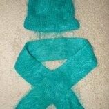 Комплект зимний - шапочка, шарф зеленый мохер