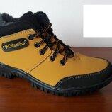 Ботинки мужские подростковые зимние желтые теплые