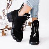 Зимние замшевые ботинки на низком каблуке, кожаные ботинки, зимові ботінки 36-41р
