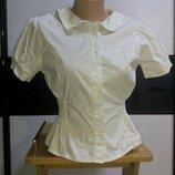 Белая приталенная блуза,короткий рукав. George