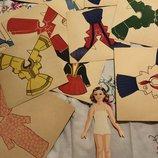 Старинная бумажная коллекционная винтажная кукла винтаж редкость одень куклу ссср куколка одежда