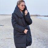 Женская зимняя длинная куртка пальто тёплая