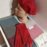 Комплект чешский фетровый берет tonak, шарф палантин в клетку и кожаные перчатки