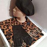 Комплект чешский фетровый берет tonak, леопардовый шарф палантин и кожаные перчатки