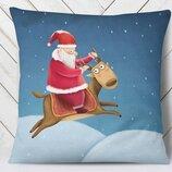Оригинальная подушка Дед Мороз на олене