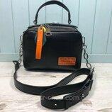 Женская кожаная сумка Polina & Eiterou чёрная жіноча шкіряна на два отделения чорна модная стильная