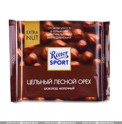 Ritter Sport - Молочный шоколад с цельными лесными орехами, 100 гр.