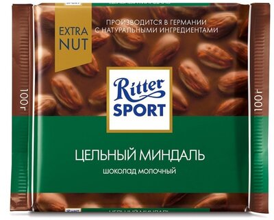 Ritter Sport - Молочный шоколад с миндалем , 100 гр.