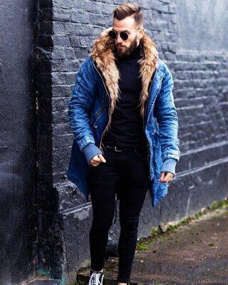 Топ качество. Зима. Стильная мужская куртка парка «Open» джинсовая синий, голубой, мех op-15