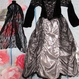 Красивый карнавальный костюм платье колдунья паучиха невеста ночи 7-8лет