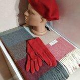 Комплект чешский фетровый берет tonak, шарф палантин в клетку из пашмины и шерстяные перчатки