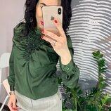 Шелковая блуза с аппликацией из страз 3 цвета