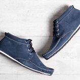 Кожаные мужские зимние синие туфли мокасины ботинки на меху натуральный нубук