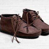 Кожаные мужские зимние коричневые туфли мокасины ботинки на меху натуральный нубук