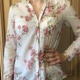 Рубашка блузка в мелкий цветочный принт