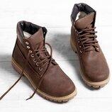 Кожаные мужские зимние коричневые ботинки натуральный нубук